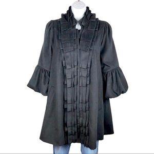 A'reve black ruffle front coat poet sleeves